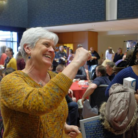 Kent State University employees smile and enjoy themselves during the university's 2019 Employee Appreciation Day event held in the 肯特 Student Center Ballroom.