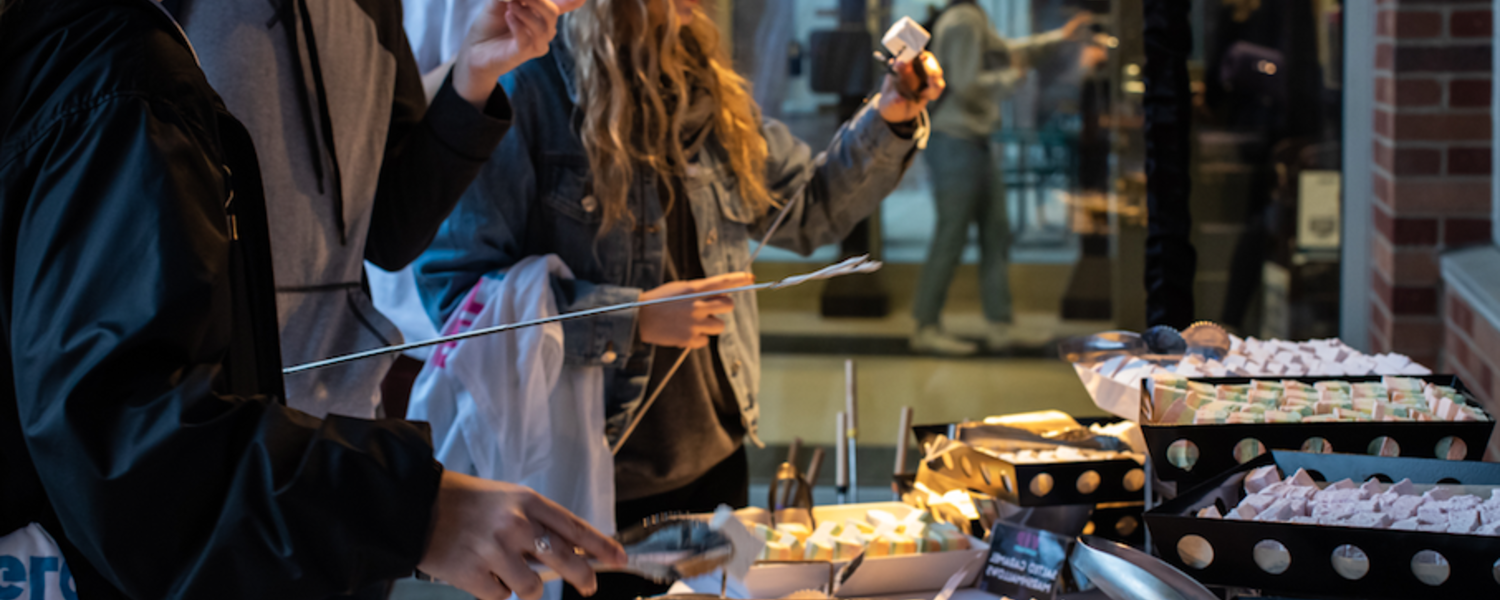 Students make their own smores during VIP Night